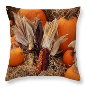 Pumpkins And Corn Throw Pillow