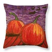 Pumpkins At The Dock Throw Pillow
