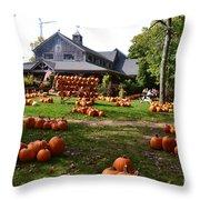 Pumpkins In Martha's Vineyard Farm Throw Pillow