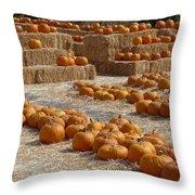 Pumpkins On Bales Throw Pillow