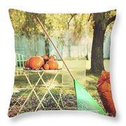 Pumpkins On The Table Throw Pillow