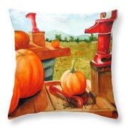 Pumps And Pumpkins Throw Pillow