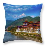 Punakha Dzong Throw Pillow