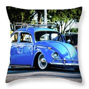 Punch Buggie Blue Throw Pillow