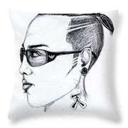 Punk Imaginative Portrait Drawing  Throw Pillow