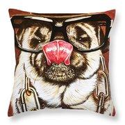 Punk Pug Throw Pillow