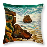 Punta Rincon Throw Pillow by Milagros Palmieri