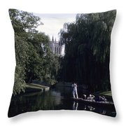 Punters Glide Past Trinity College Throw Pillow