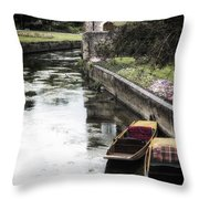 Punting Boats Throw Pillow