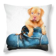 Pup In A Shoe Throw Pillow