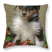 Pup In The Flowers Throw Pillow