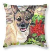 Pup In The Garden Throw Pillow