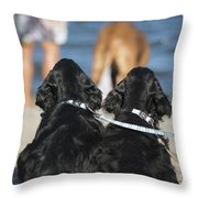 Puppies On The Beach Throw Pillow by Camilla Brattemark