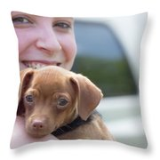 Puppy And Smiles Throw Pillow