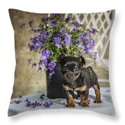 Puppy Dog With Flowers Throw Pillow
