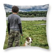 Puppy Guard Majestic Forest Throw Pillow