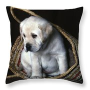 Puppy In A Basket Throw Pillow