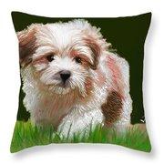 Puppy In High Grass Throw Pillow