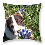 Puppy In The Blubonnets Throw Pillow
