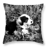 Puppy In The Leaves Throw Pillow