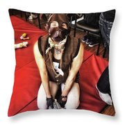 Puppy Play. Human Canine Training Throw Pillow