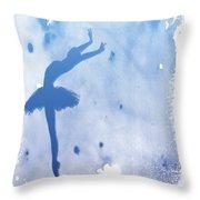 Purple Ballerina Silhouette Throw Pillow