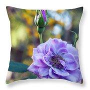 Purple Rose Glow Throw Pillow