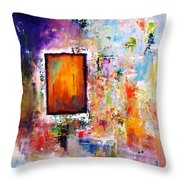 Purple Abstract Oil Painting Purplicious Throw Pillow