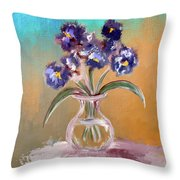 Purple And Blue Pansies In Glass Vase Throw Pillow by Lois Bryan
