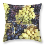 Purple And Green Grapes Throw Pillow