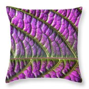 Purple And Green Leaf Throw Pillow