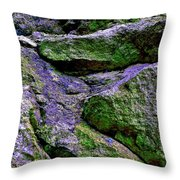 Purple And Green Rock Throw Pillow