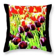 Purple And Peach Tulips 2 Throw Pillow