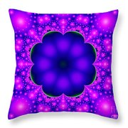 Purple And Pink Glow Fractal Throw Pillow