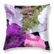 Purple And Pink Petunias Oil Painting Throw Pillow