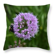 Purple And The Bee Throw Pillow