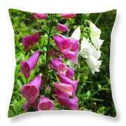 Purple And White Bell Flowers Throw Pillow