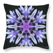 Purple And White Frosted Queen Mandala Throw Pillow