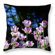 Purple And White Tulips - Photopainting Throw Pillow