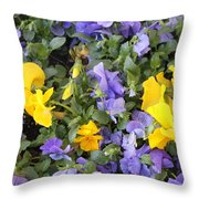 Purple And Yellow Flowers Throw Pillow