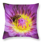Purple And Yellow Lotus With A Bee Textured Throw Pillow