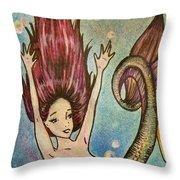 Purple Arowana Mermaid Throw Pillow