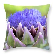 Purple Artichoke Flower  Throw Pillow
