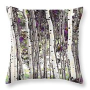 Purple Aspens Throw Pillow