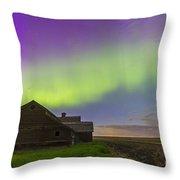 Purple Aurora Over An Old Barn Throw Pillow