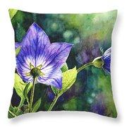 Purple Bell Flower Throw Pillow