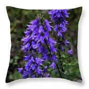 Purple Bell Flowers Throw Pillow