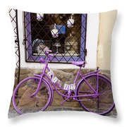 Purple Bicycle Throw Pillow