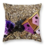 Purple Birdhouses 2 Throw Pillow