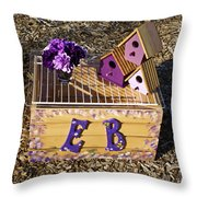 Purple Birdhouses 3 Throw Pillow